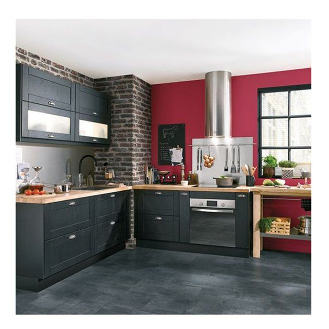 D co salon cuisine quip e gris anthracite mur rouge for Cuisine equipee grise