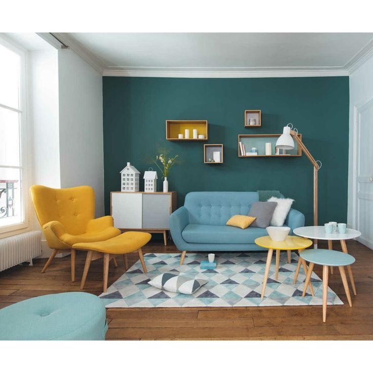 d co salon inspiration deco bleue canard salon. Black Bedroom Furniture Sets. Home Design Ideas