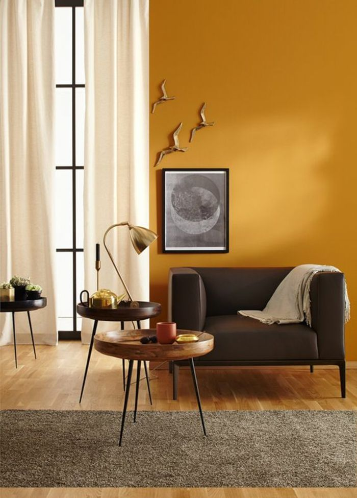 D co salon un mur d 39 accent ocre jaune pour r chauffer l for Farben passend zu grau