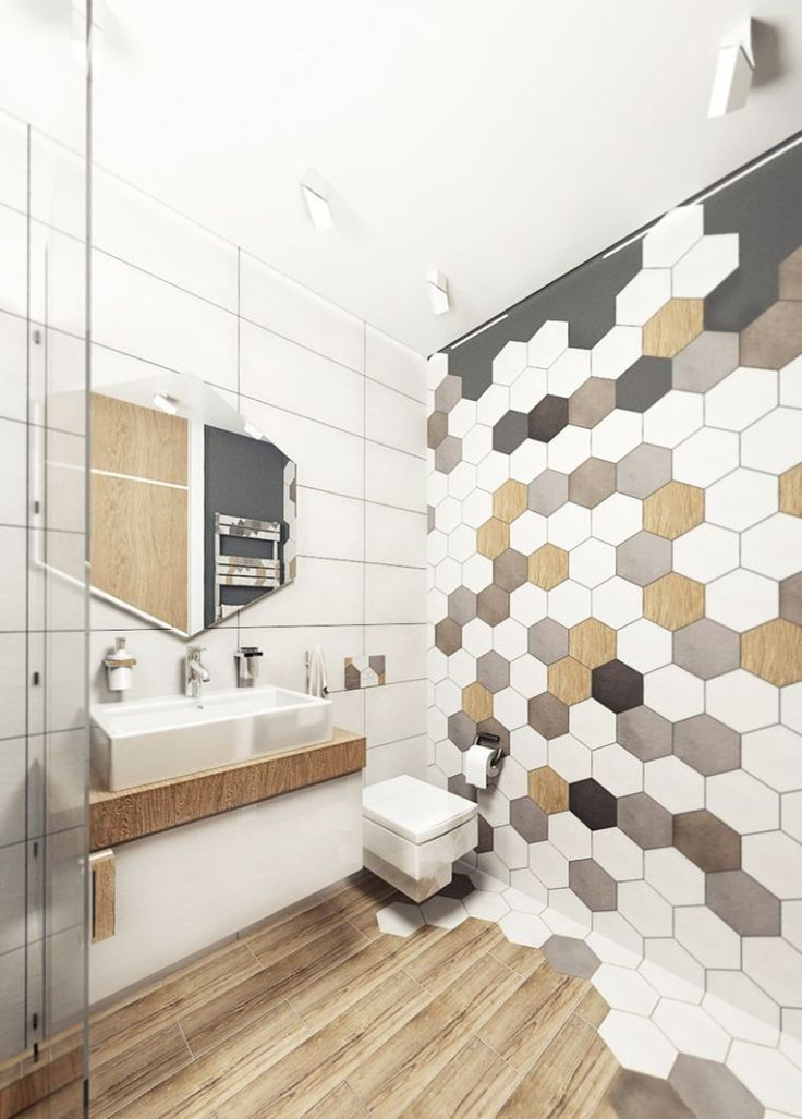 id e d coration salle de bain carrelage hexagonal pour mur de salle de bain avec parquet en. Black Bedroom Furniture Sets. Home Design Ideas