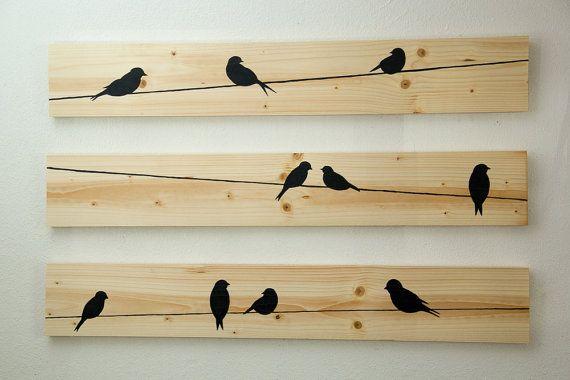 id e d coration salle de bain d coration murale en bois birds on a wire 3 pces par. Black Bedroom Furniture Sets. Home Design Ideas
