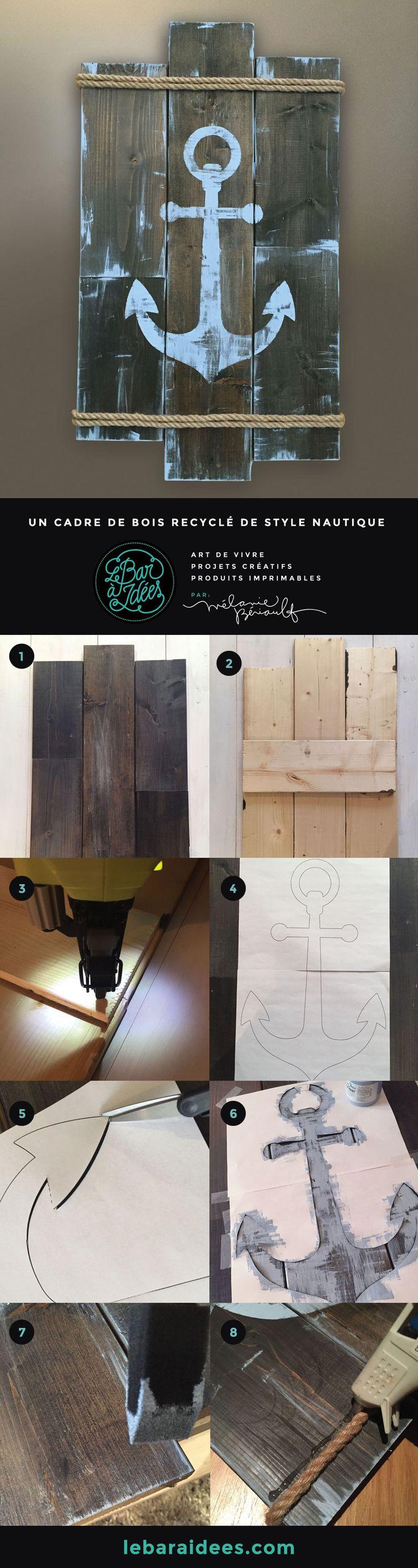 Id E D Coration Salle De Bain Diy Cadre De Bois Recycl De Style