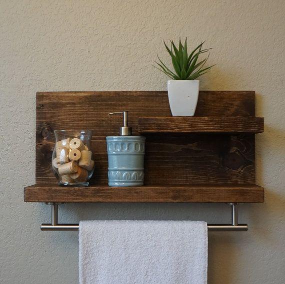id e d coration salle de bain tag re de salle de bain 2 niveaux fait la main avec barre de. Black Bedroom Furniture Sets. Home Design Ideas