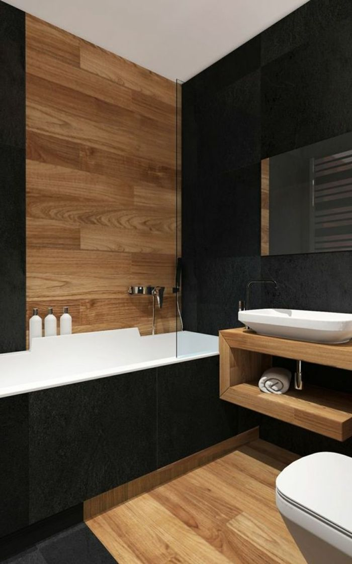 id e d coration salle de bain idee salle de bain bois et c ramique vasque en c ramique. Black Bedroom Furniture Sets. Home Design Ideas