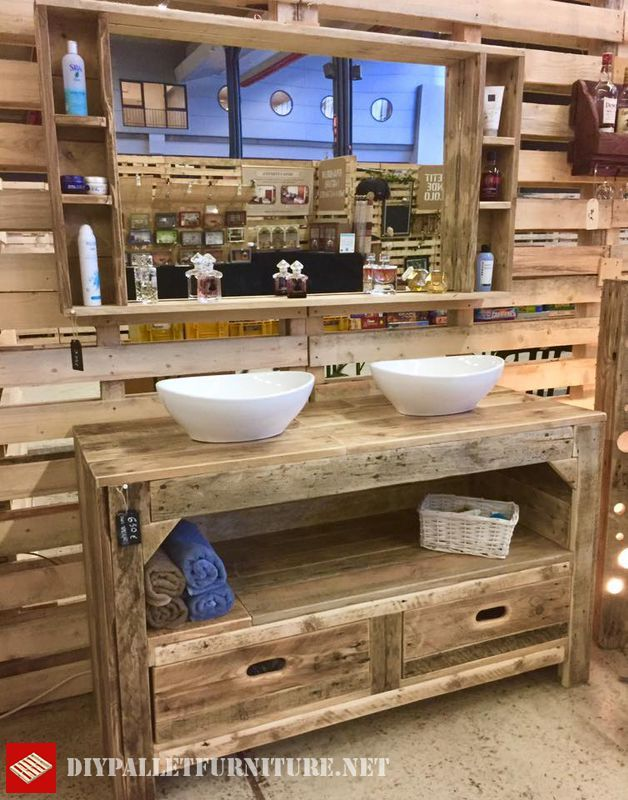 meuble salle de bain avec des palettes