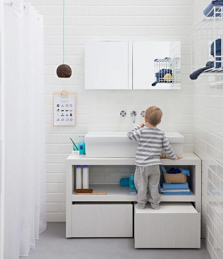Id e d coration salle de bain meuble sous vasque blanc for Idee salle de bain design