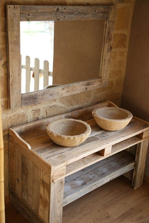 id e d coration salle de bain meubles de salle de bains avec palette en par lasaviadelartesano. Black Bedroom Furniture Sets. Home Design Ideas