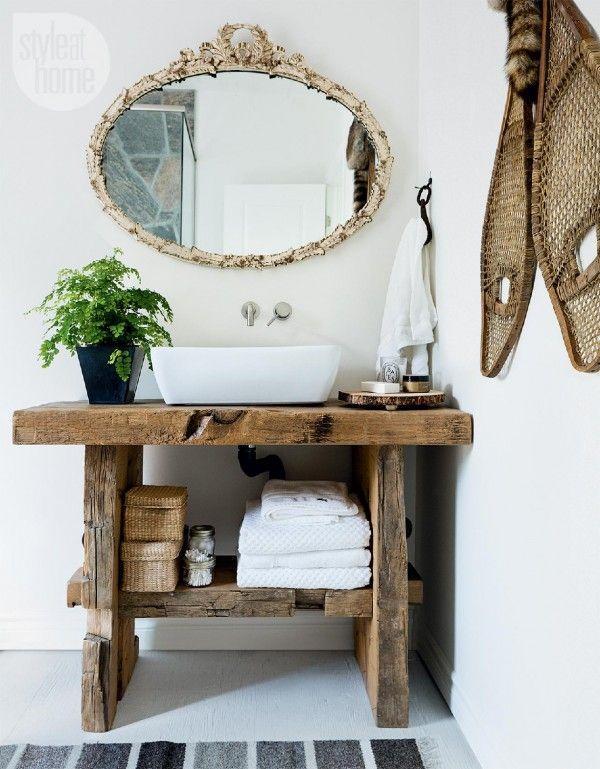 Idée décoration Salle de bain - Miroir vintage dans une salle de ...