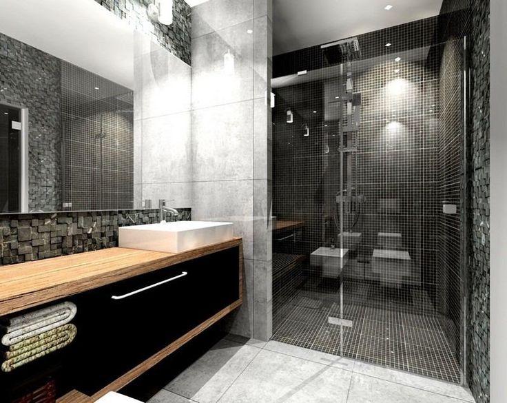 Idée décoration Salle de bain - salle de bain noir et blanc avec ...