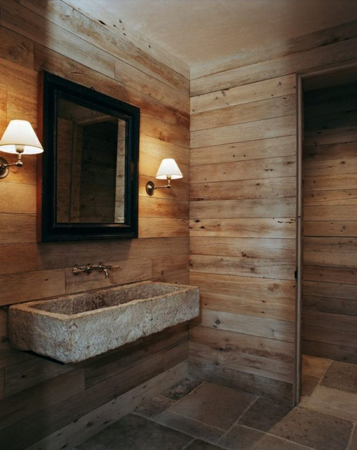 id e d coration salle de bain salle de bain rustique pierres bois carrelage ambiance cosy. Black Bedroom Furniture Sets. Home Design Ideas