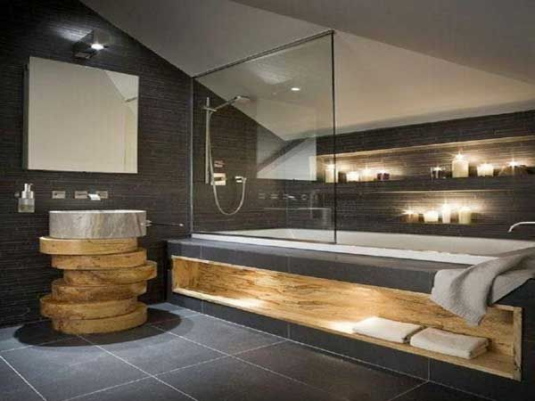 id e d coration salle de bain salle de bain zen sous pente plan vasque en rondins de bois. Black Bedroom Furniture Sets. Home Design Ideas