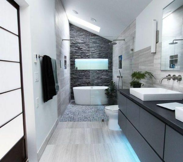 Id e d coration salle de bain une salle de bain sous for Salle de bain en sous pente