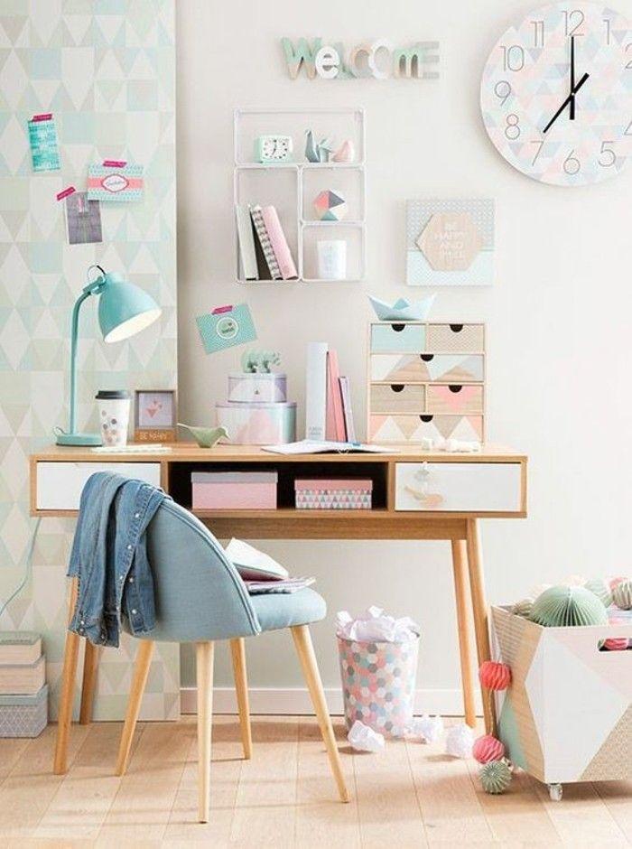 relooking et d coration 2017 2018 bureau en bois et lampe bleue dans la chambre moderne ado. Black Bedroom Furniture Sets. Home Design Ideas