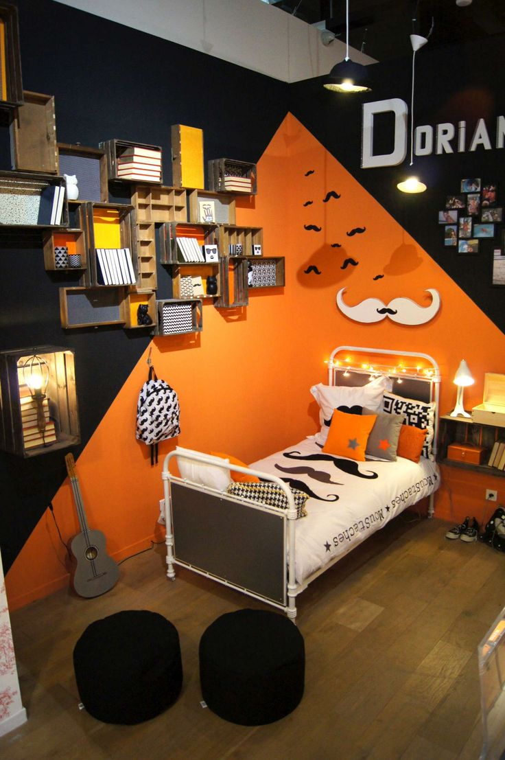 relooking et d coration 2017 2018 chambre ado noire et orange d co rock moustaches i. Black Bedroom Furniture Sets. Home Design Ideas