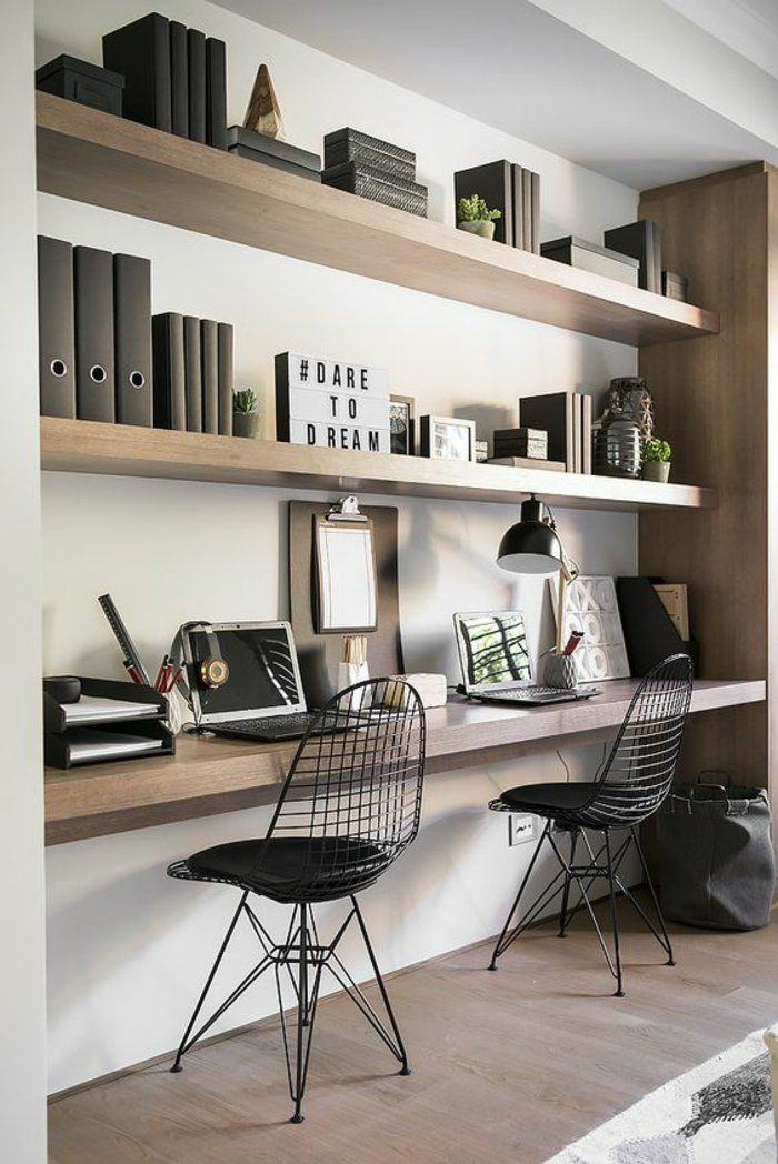salle manger int rieur minimaliste coin de travail bureau en bois suspendu et tag res mur. Black Bedroom Furniture Sets. Home Design Ideas