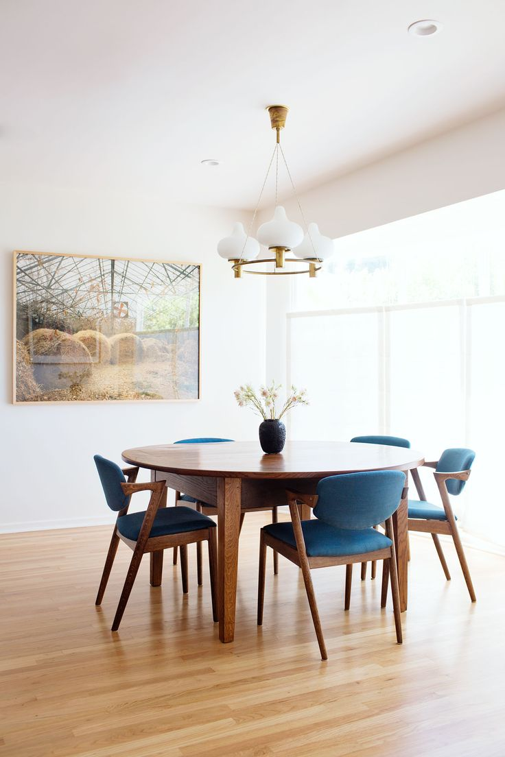 Description Minimalist Mid Century Modern Inspired Dining Room Decor With Blue