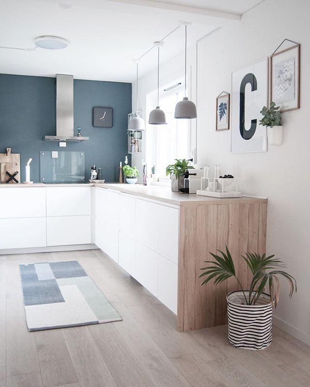 D co salon kitchen cuisine blanc bleu bois hotte intox for Deco cuisine bleu blanc