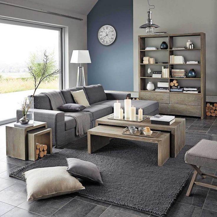Deco Salon Couleur Pour Agrandir Une Piece Mur Accent Bleu