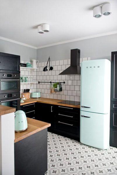 d co salon cuisine noire et bois black and wood kitchen soul inside vert green couleur. Black Bedroom Furniture Sets. Home Design Ideas
