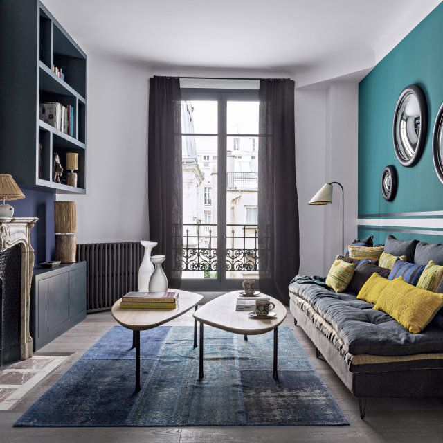 d co salon dans la biblioth que bureau aux tons sourds jade et prune peintures sarah la. Black Bedroom Furniture Sets. Home Design Ideas