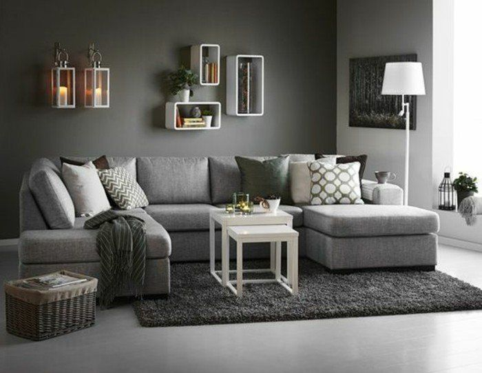 d co salon d co salon gris couleur peinture salon gris canap tapis et sol gris avec q. Black Bedroom Furniture Sets. Home Design Ideas