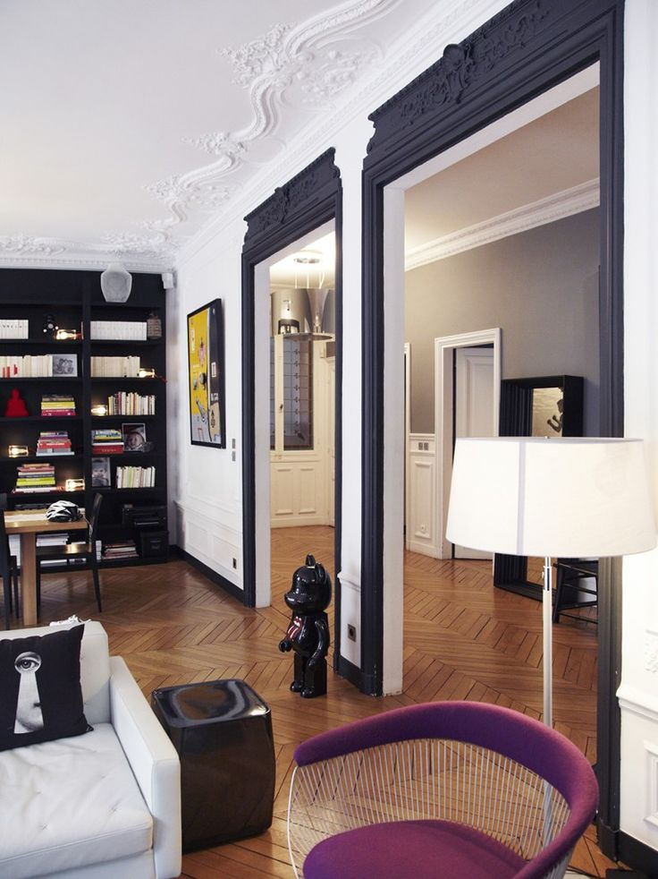 D co salon int rieur haussmannien et style contemporain for Decoration interieur haussmannien