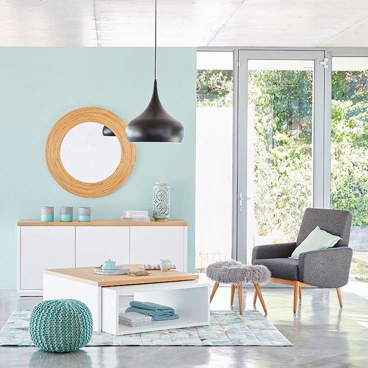 d co salon maisons du monde ton bleu vert pastel bois clair blanc et gris listspirit. Black Bedroom Furniture Sets. Home Design Ideas