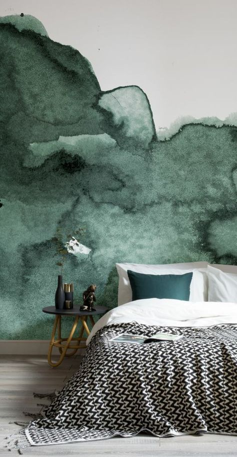 d co salon peinture acrylique mur mur aquarelle dans la cha mbre coucher. Black Bedroom Furniture Sets. Home Design Ideas