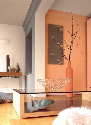 Déco Salon - Peinture Astral dans salon moderne couleur orange et gris - ListSpirit.com ...
