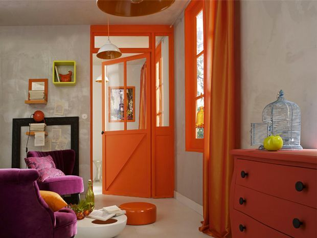 Deco Salon Peinture Salon Couleur Gris Et Orange