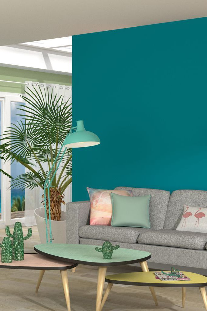 D co salon une teinte turquoise pour r veiller les murs for Decoration pour le salon