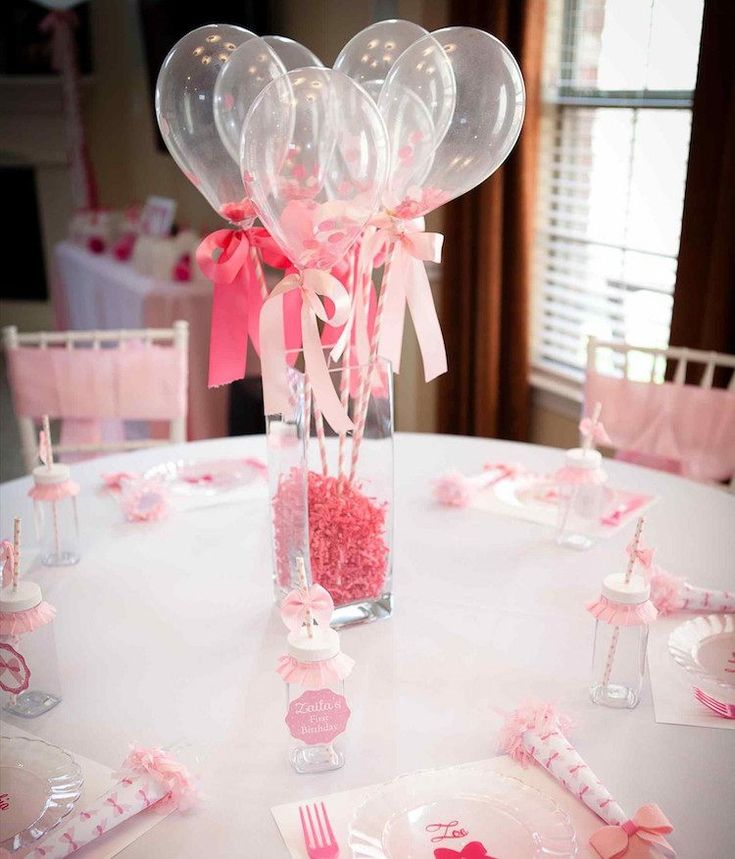 D coration de bapteme fille bouquet de ballons comme centre de table - Idee deco table bapteme fille ...