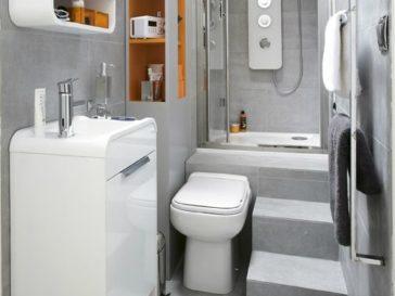 Id e d coration salle de bain peinture vert c ladon carrelage blanc bois m lange lumineux - Amenagement salle de bain petit espace ...