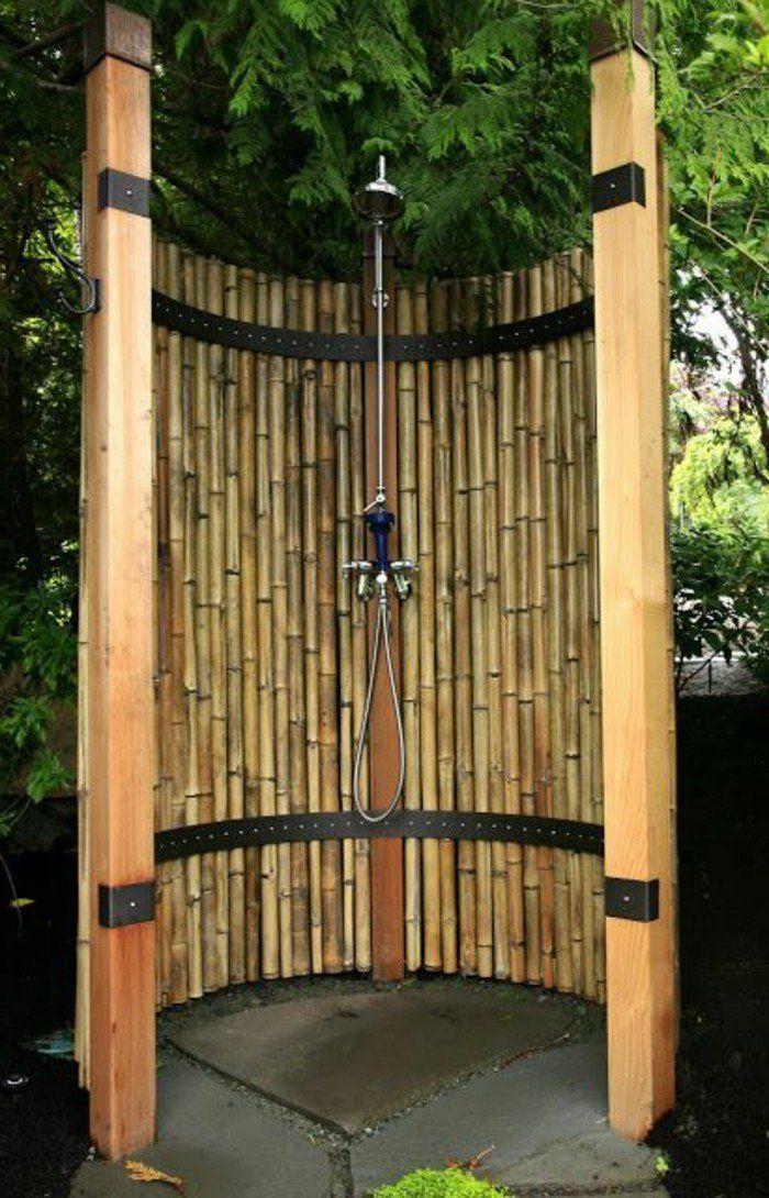 Idée décoration Salle de bain - bambou en jardinière, cabine de ...