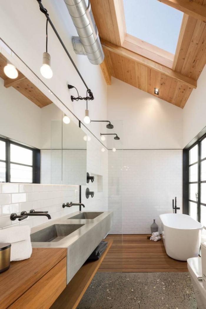 Idée décoration Salle de bain - carrelage blanc brillant, salle de ...