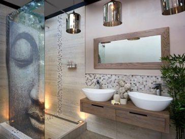 id e d coration salle de bain salle de bains grise carrelage mural mosaique en gris et blanc. Black Bedroom Furniture Sets. Home Design Ideas