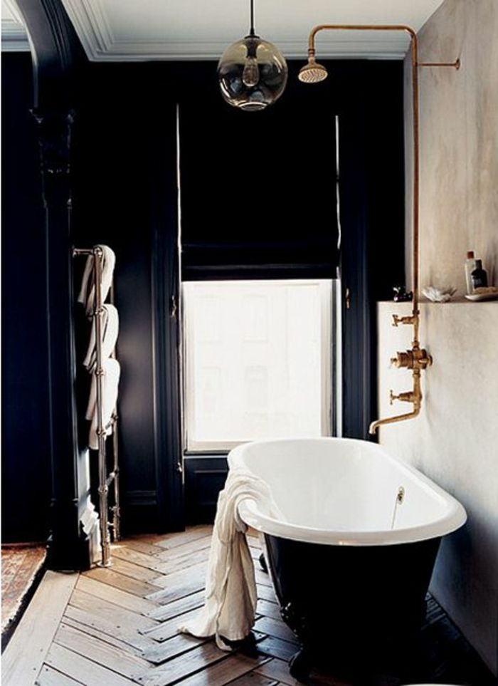 stunning salle de bain retro noir et blanc ideas. Black Bedroom Furniture Sets. Home Design Ideas