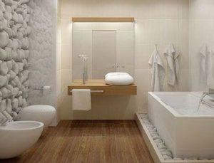 Salle de bain design avec parquet et mur galet blanc leading inspiration - Parquet salle de bain blanc ...