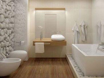 ide dcoration salle de bain salle de bain design avec parquet et mur galet blanc - Galets Muraux Salle De Bain