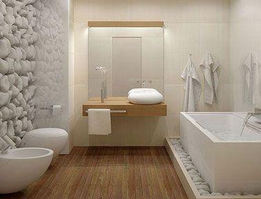 Salle de bain design avec parquet et mur galet blanc - ListSpirit ...