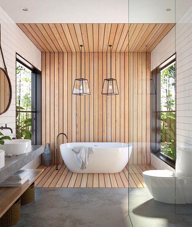 id e d coration salle de bain salle de bain grandes baies sur jardin fa ence blanche et bois. Black Bedroom Furniture Sets. Home Design Ideas