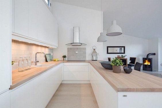 Id e relooking cuisine am nagement cuisine en u blanche et moderne avec des plans de travail - Idee cuisine en u ...