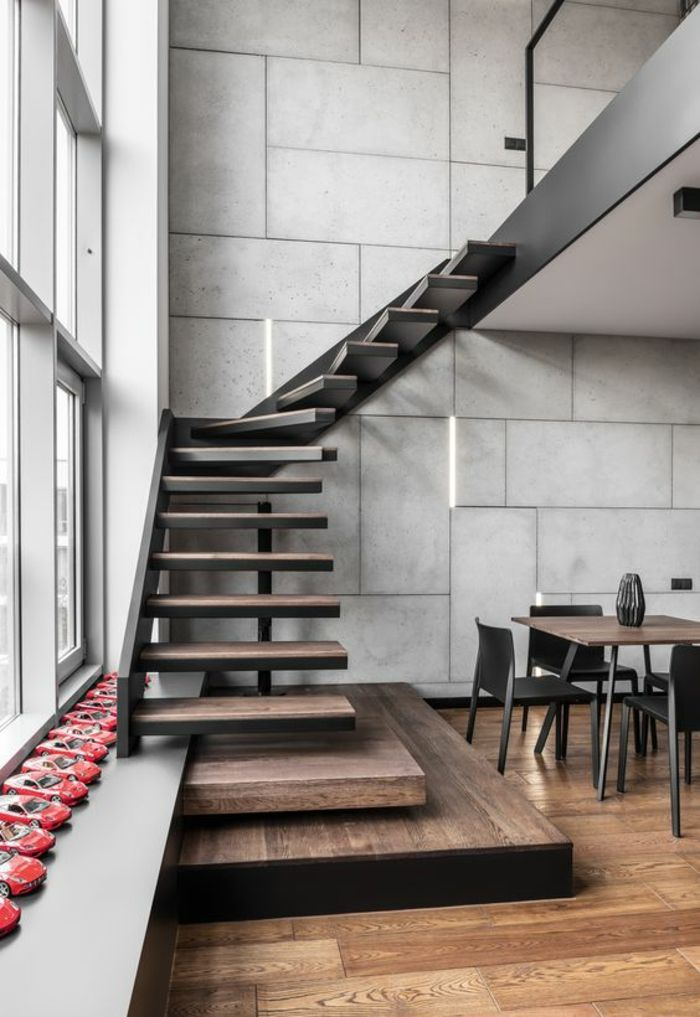 Idée relooking cuisine - escalier bois escalier moderne avec structure portante en métal noir ...