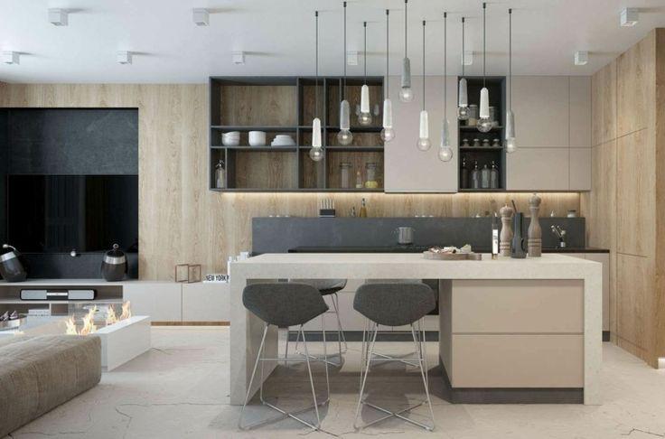 Id e relooking cuisine mod les de cuisine moderne luminaires espace ouvert salon listspirit - Idees de relooking cuisine moderne ...