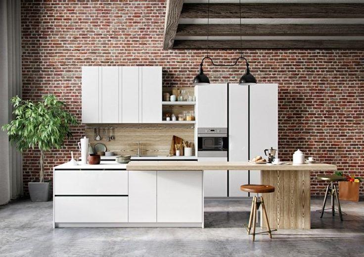 Description. Modèles De Cuisine Moderne Mobilier Design Blanc Deco Brique