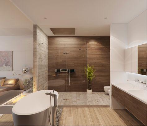 Id e relooking cuisine salle de bain bathroom douche shower italienne bain bath beige - Salle de bain brun ...