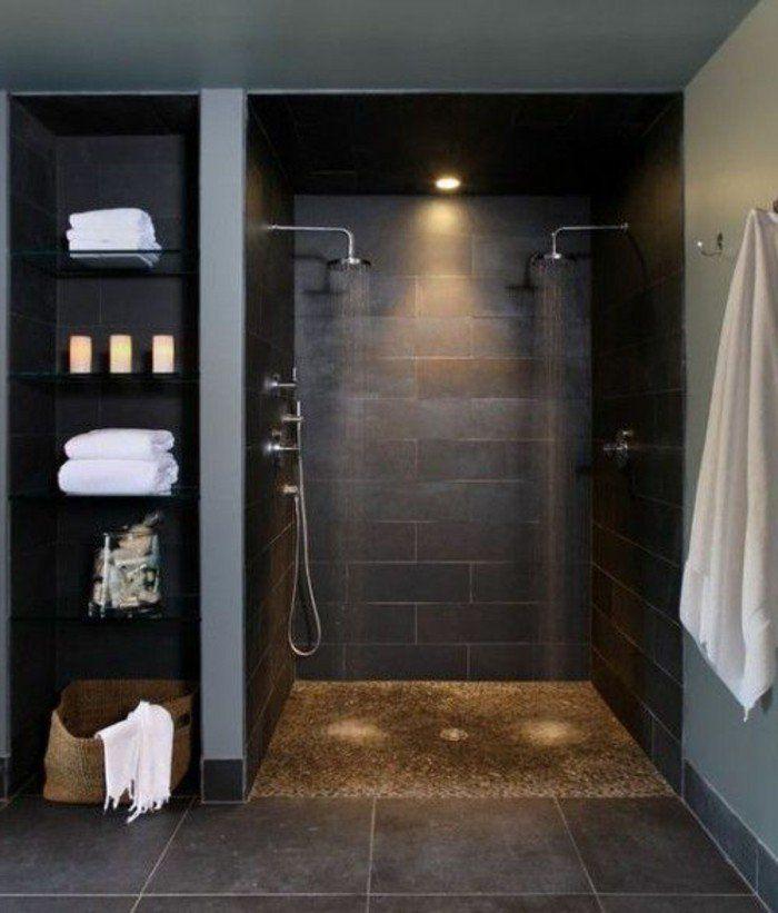 Idée relooking cuisine - salle de bain luminaire led, dalles en gris ...