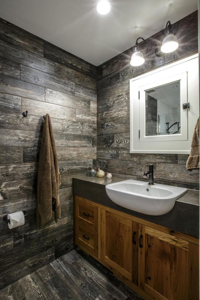 salle de bain rustique, lavabo blanc céramique, style moderne ...