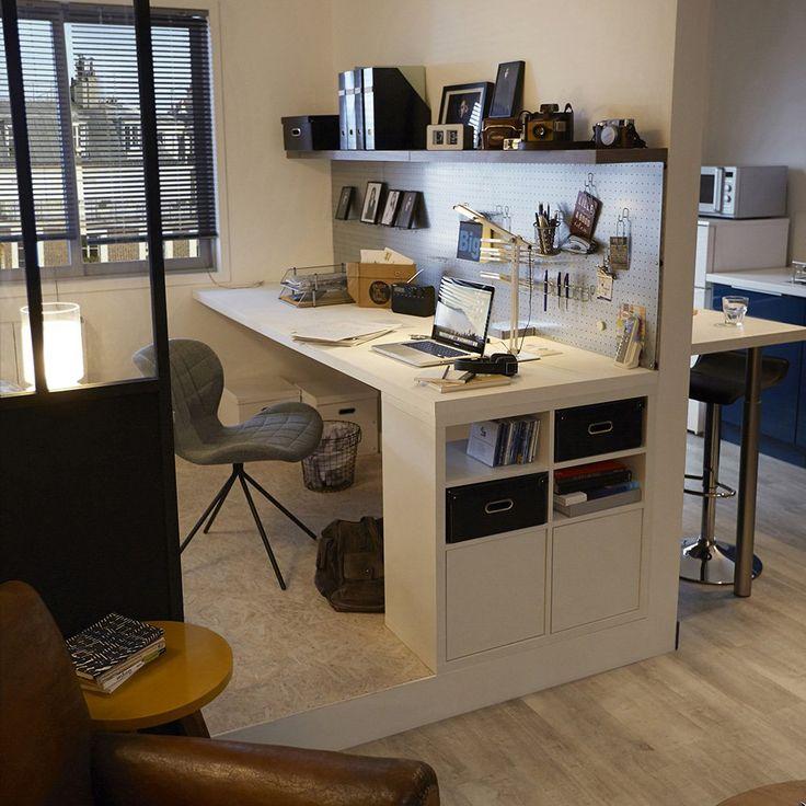 Idée relooking cuisine - Un bureau avec des rangements ...