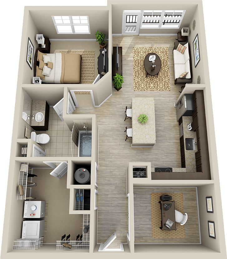 Description 50 plans en 3d dappartement avec 1 chambres plus